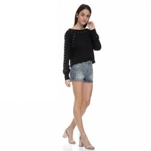 Juicy Couture Mixed metal studded short